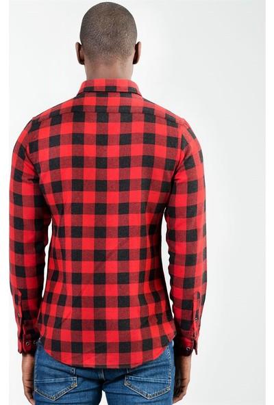 Tudors Bordo Siyah Kareli Slim Fit Kışlık Gömlek