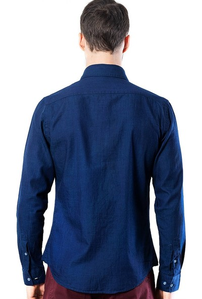 Tudors Slim Fit Mavi Kot Gömlek