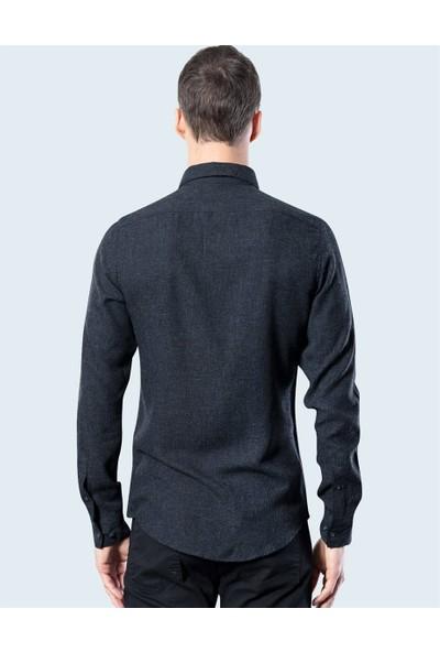 Tudors Slim Fit Düz Siyah Kışlık Gömlek