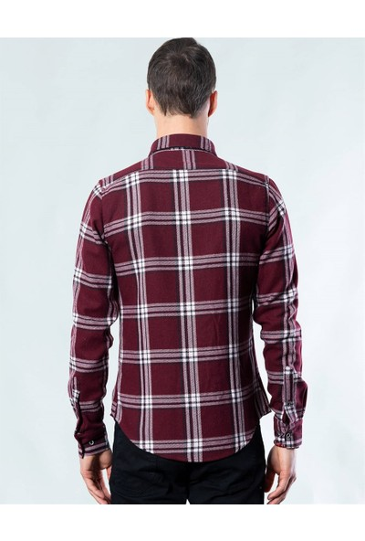 Tudors Slim Fit Kışlık Bordo Gömlek