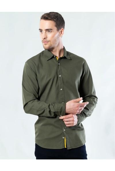 Tudors Klasik Fit Yeşil Kot Gömlek