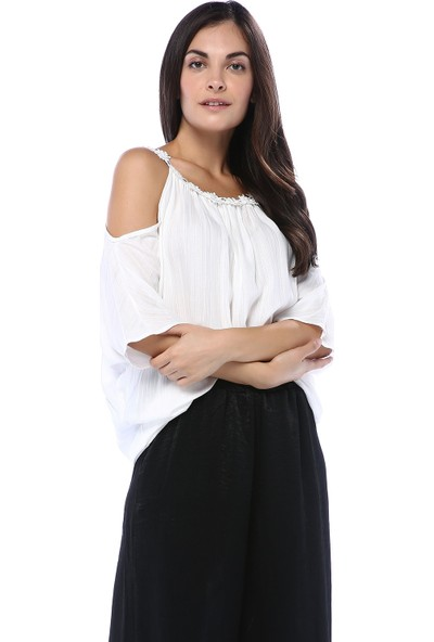 Vitrin Kadın Ekru Yakası Çiçek Detaylı Bluz