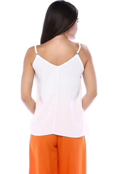 Qu Style Kadın Yakası Güpür Askılı Bluz