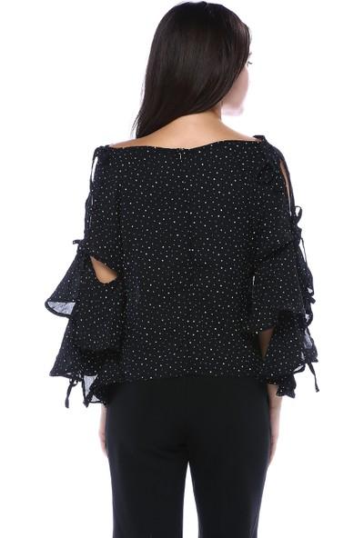 Bebeplus Kadın Siyah Puantiyeli Kol Detaylı Bluz