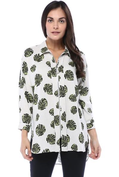 Clew Kadın Desenli Fermuarlı Bluz