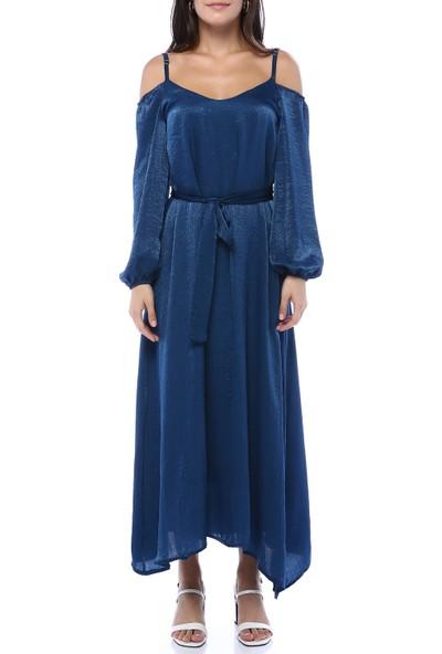 Creamrouge Kadın Lacivert Omuz Detaylı Parlak Kumaş Elbise