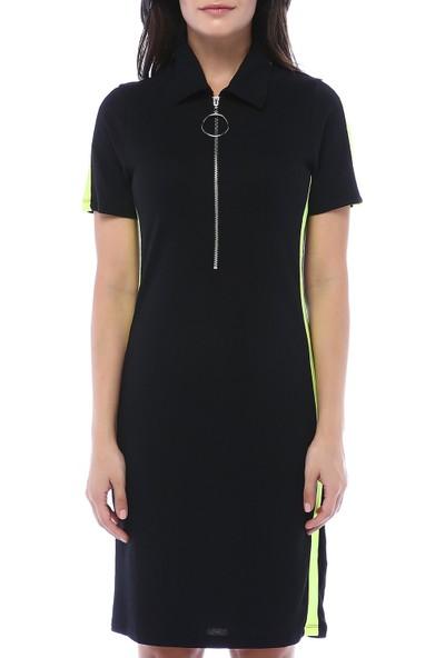 Bebeplus Kadın Önü Fermuarlı Yanları Renkli Şerit Spor Elbise