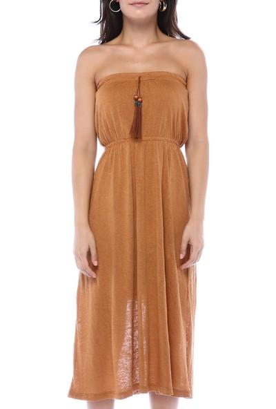 Chance Kadın Hardal Straplez Midi Elbise