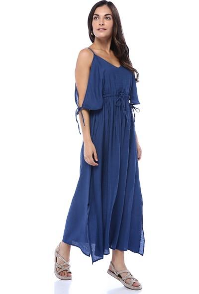 Bebeplus Kadın Askılı Kolları Bağlamalı Göğüs Altından Büzgülü Yırtmaçlı Elbise