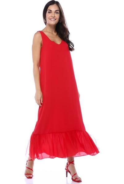 Creamrouge Kadın Etek Ucu Tül Detay Uzun Elbise