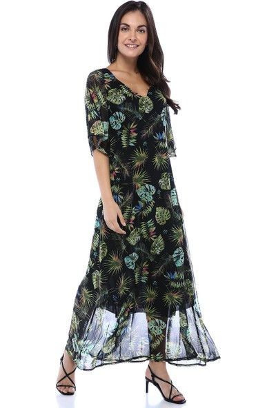 Creamrouge Kadın V Yaka Sırt Detaylı Yaprak Desenli Uzun Elbise