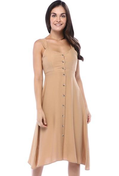 Quzu Kadın Kamel Önden Düğmeli Arkası Fiyonk Detaylı Elbise