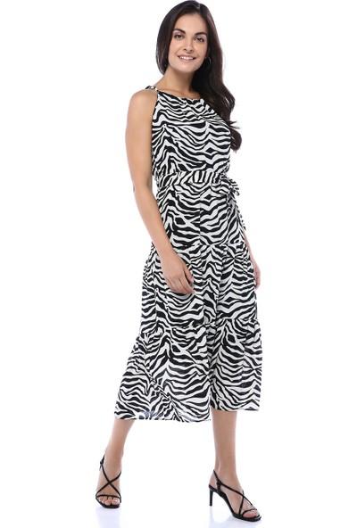 Chance Kadın Siyah Zebra Desen Halter Yaka Bağcıklı Elbise