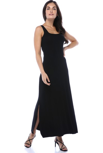 Gecce Kadın Siyah Fitilli Yırtmaç Detaylı Elbise
