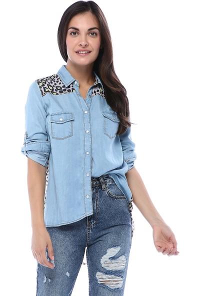 Chance Kadın Mavi Göğüs ve Yaka Şifon Detaylı İnce Kot Gömlek