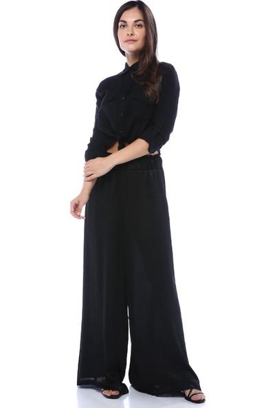 Quzu Kadın Belden Bağlamalı Cep Detaylı Kısa Gömlek