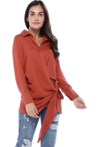 Clew Kadın Kiremit Kuşaklı Kruvaze Gömlek
