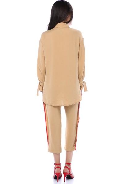 Hot Fashion Kadın Hardal Kırmızı Şeritli Eşofman Takımı