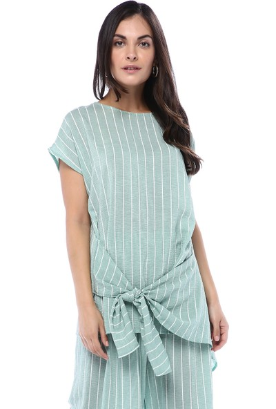Orfeonegro Kadın Asimetrik Kesim Çizgili Pantolon Bluz Takım