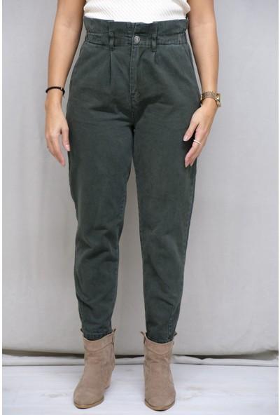 Clew Kadın Haki Yeşil Yüksek Bel Kanvas Pantolon