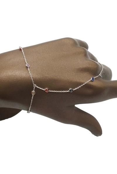 Takı Mağaza 925 Ayar Gümüş Ara Zincirli Renkli Zirkon Taşlı Şahmeran