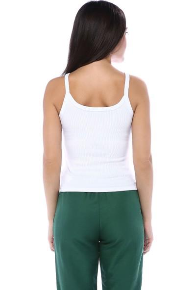 Bsl Kadın askılı beyaz body