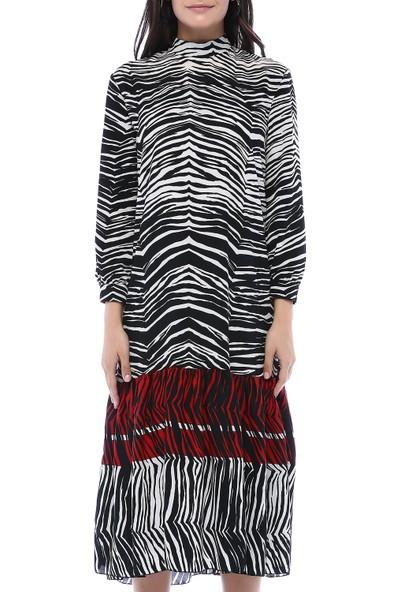 Fk Pineapple Kadın Siyah Zebra Desen Elbise