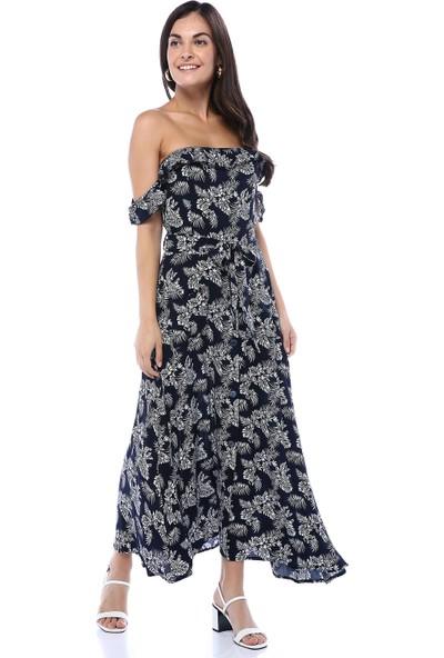 Sobee Kadın Lacivert Yaprak Desenli Kolları Düşük Elbise
