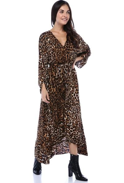 Boeem Kadın Beli Lastikli Kuşaklı Desenli Elbise