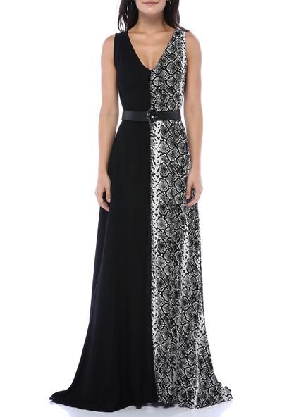 Boeem Kadın Bir Tarafı Düz Siyah Bir Tarafı Desenli Kendinden Kemerli Yırtmaçlı Elbise