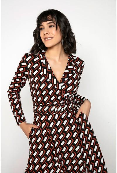 Liplipo Kadın Kruvaze Yaka Dikdörtgen Desen Kemerli Cepli Likra Krep Elbise
