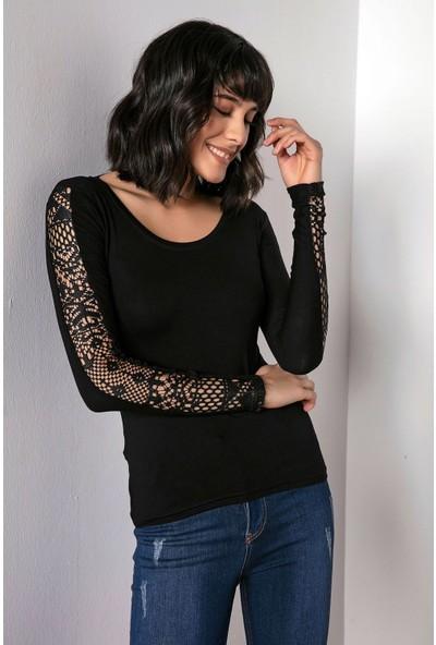 Liplipo Kadın Kolları Dantel Şeritli Likra Bluz