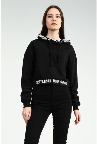 Collezione Kadın Siyah Regular Kapüşonlu Sweatshirt