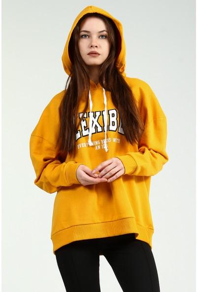Collezione Kadın Sarı Kapüşonlu Sweatshirt