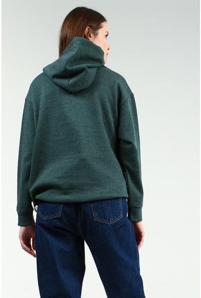 Collezione Kadın Zümrüt Kapüşonlu Sweatshirt