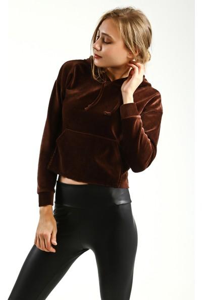 Collezione Kadın Kahverengi Regular Kapüşonlu Sweatshirt
