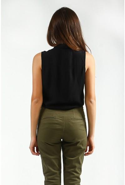 Collezione Kadın Siyah Regular Gömlek
