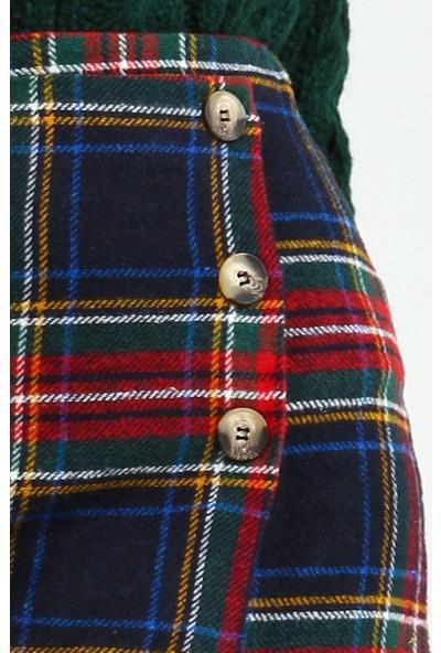 Collezione Kadın Lacivert Regular Ekose Düğme Detaylı Etek