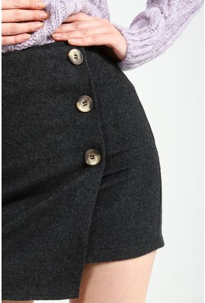 Collezione Kadın Antrasit Regular Kaşe Düğme Detaylı Etek