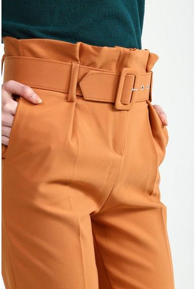 Collezione Kadın Camel Paper Bag Pantolon