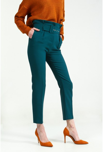 Collezione Kadın Zümrüt Paper Bag Pantolon