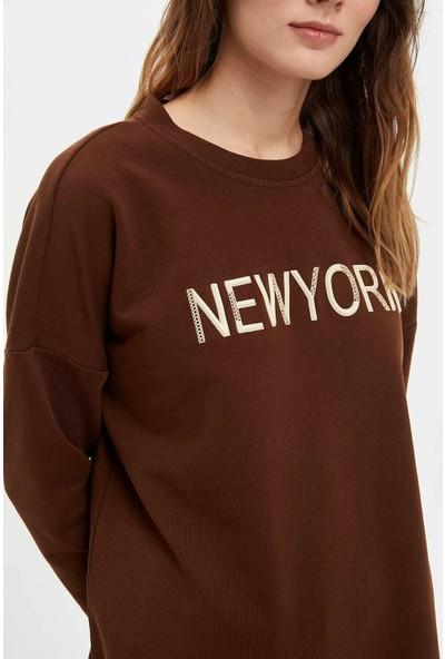 Defacto Kadın Baskılı Uzun Sweatshirt