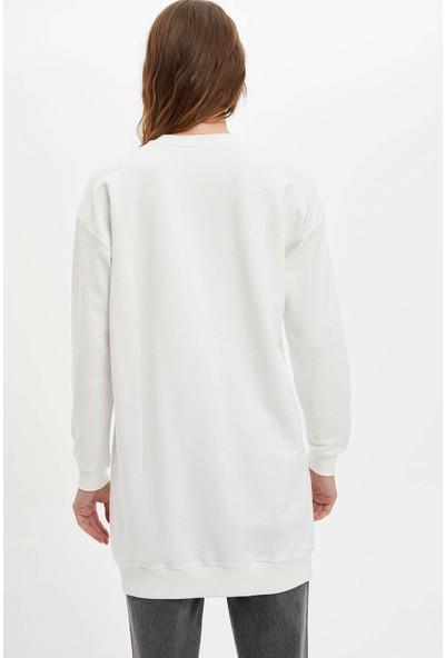 Defacto Kadın Mickey Mouse Lisanslı Uzun Sweatshirt