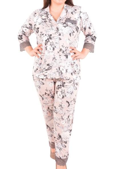 Nicoletta Kadın Pijama Takımı 3/4 Kol Büyük Beden