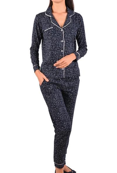 Nicoletta Kadın Pijama Takımı Uzun Kollu Düğmeli Cepli Pamuk