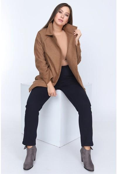 RMG Büyük Beden Uzun Kıvırcık Ceket
