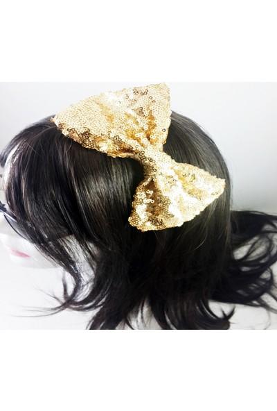 ByOzras Altın Rengi Pullu Fiyonk Taç
