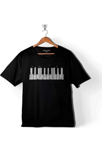 Kendim Seçtim Piano Skyline Piyano Yukaridaki Tehlike Çocuk Tişört