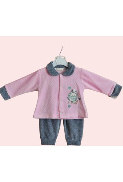 İnfantil Kadife Kız Bebek Takımı