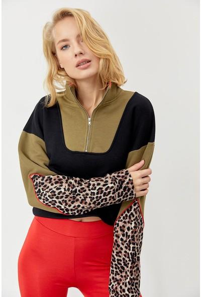Trendmay Kadın Jakarlı Sweatshirt